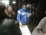 A friend betting in the casino.