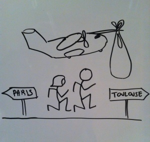 Stork bringing the baby to Toulouse (design by Jaime, future uncle).