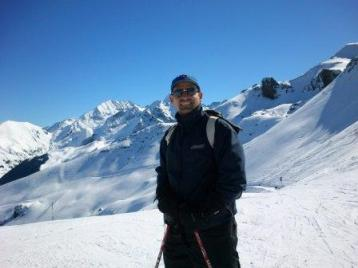 Skiing in Val Louron (France).
