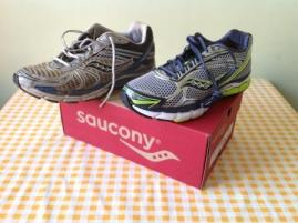 Saucony's: old Triumph 8 and new Triumph 9.