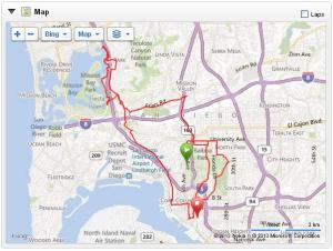 Course of San Diego marathon as recorded by my Garmin.