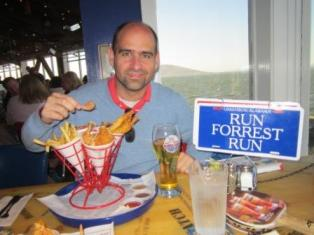 Shrimp feast at Bubba Gump restaurant.
