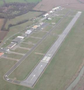 Aerial view of the aerodrome Toulouse-Lasbordes, LFCL (note that today evening the runway in use was the 34, thus, what you see closer is the end of the runway).