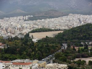 Panathinaiko stadium from Acropolis.