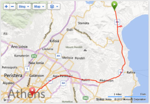 Route of the Athens Classic Marathon.