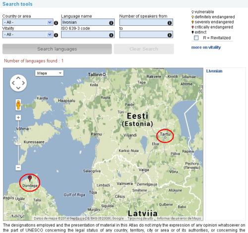 Livonian, UNESCO Atlas of the World's Languages in Danger.