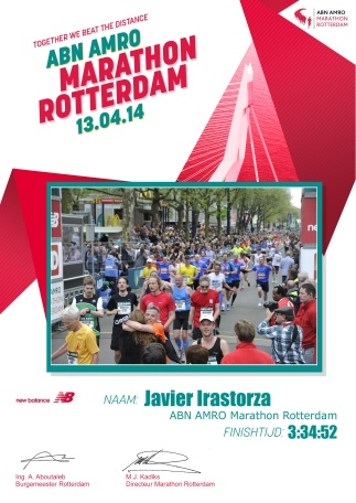 Rotterdam marathon diploma.