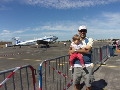 Andrea and I posing in front of a DC-3.