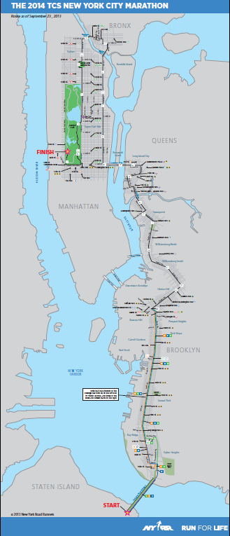 NY marathon course map.