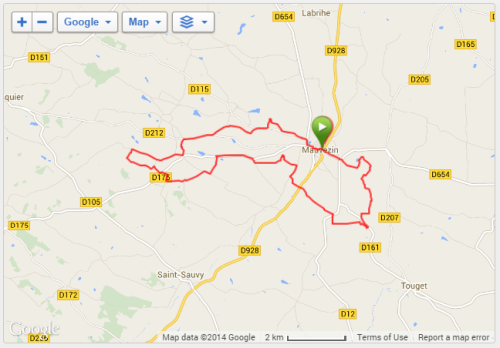 Route of the race as recorded by my Garmin GPS.