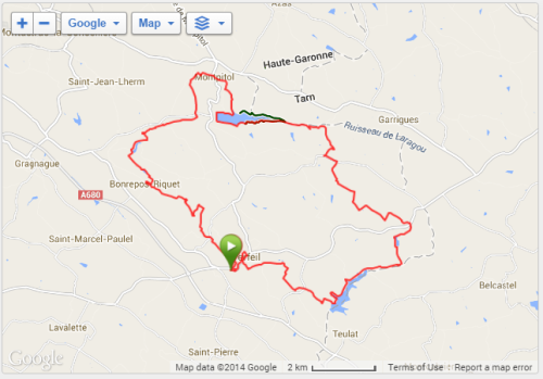 Route of the race as recorded by my Garmin.