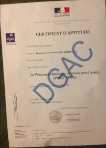 Certificat d'aptitude.