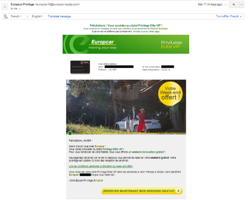 Europcar's email