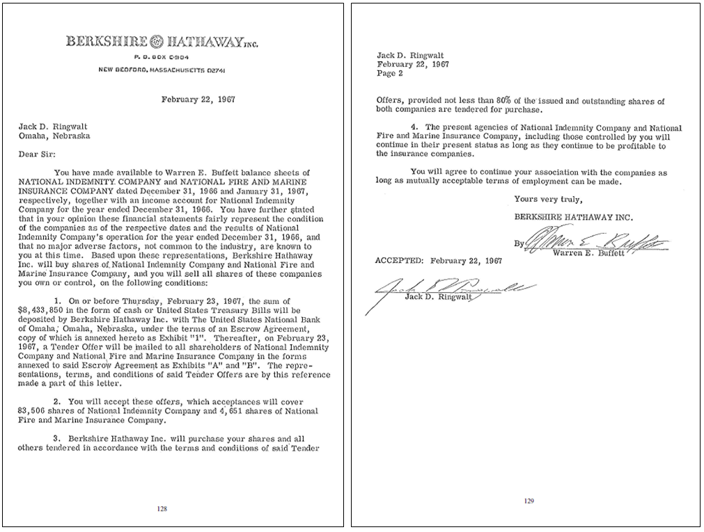 the two-page Berkshire Hathaway offer letter to National Indemnity Company, via Berkshire Hathaway 2014 annual report