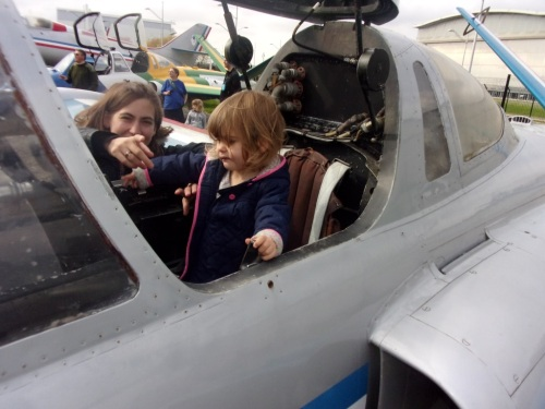 Andrea inside the trainer Fouga Magister.