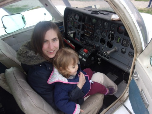 Luca and Andrea inside a Cessna 310.