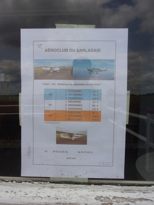 Flight prices at the Aeroclub du Sarladais.
