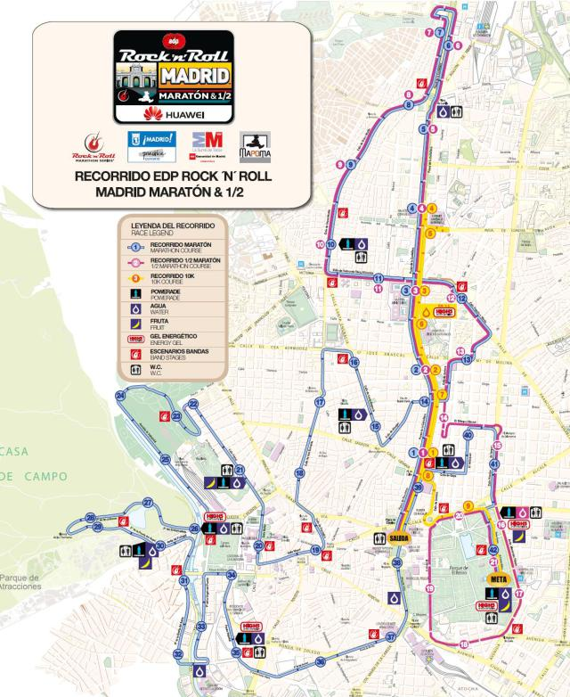 Rock and roll marathon route in madrid