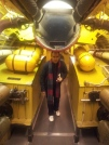 My brother Jaime walking down the bomb bay of a B-29.
