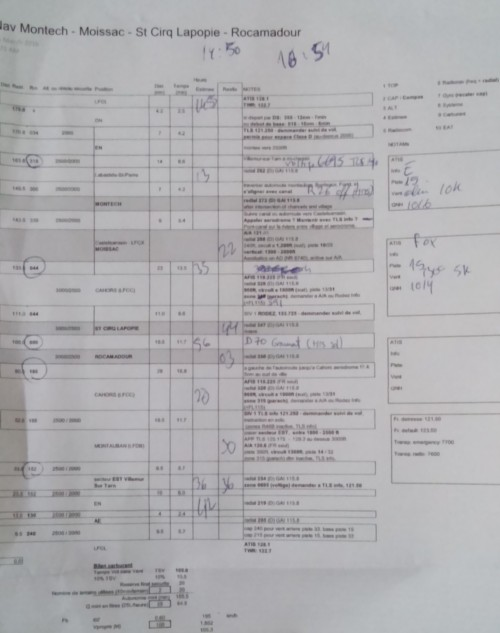 Navigation log as used after the flight.