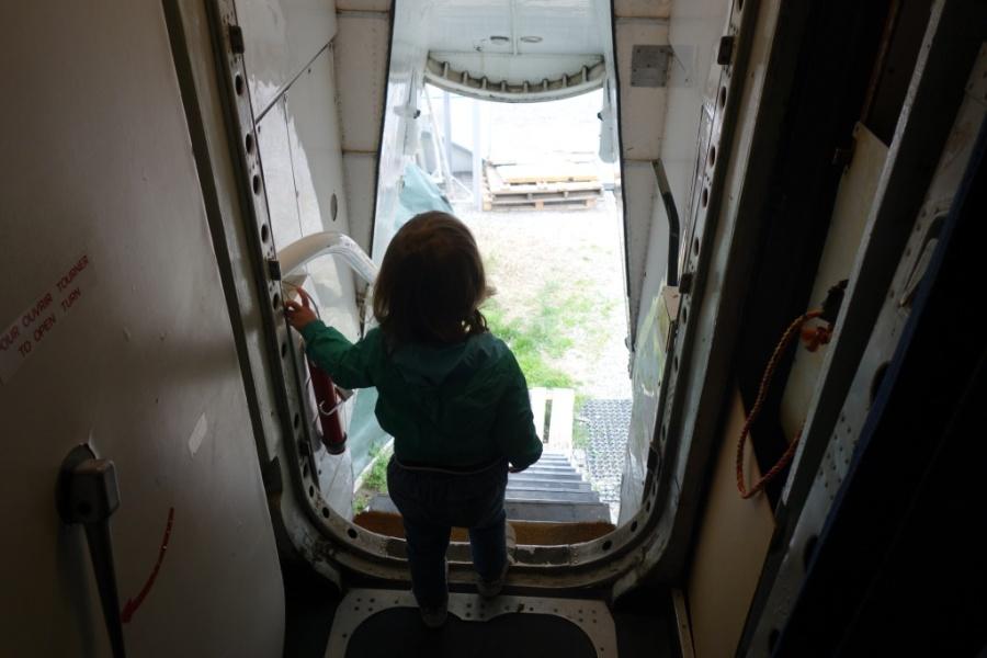 Facing Caravelle back door.