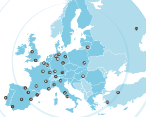 Location of EACP clusters (source: EACP brochure).